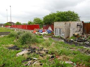 The burnt out canteen and toilet block after recent vandalism at the Showground